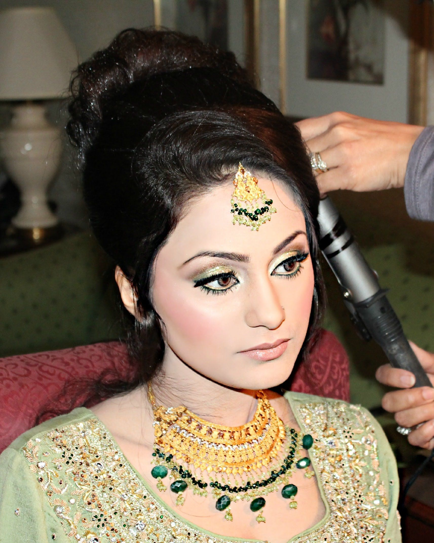 airbrush arabic wedding reception makeup, henna, and hair by