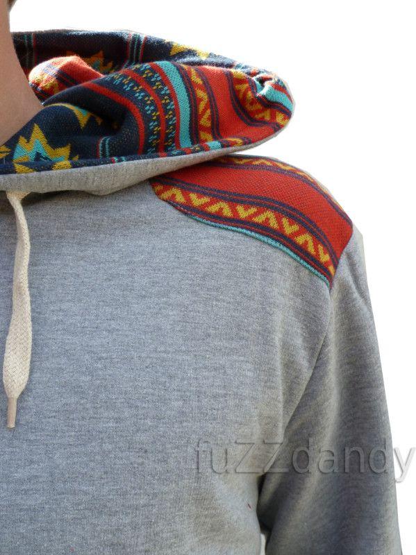 Mens Grey Hoodie hooded top jumper aztec navajo vtg retro 80s indie xs s m l xl | eBay