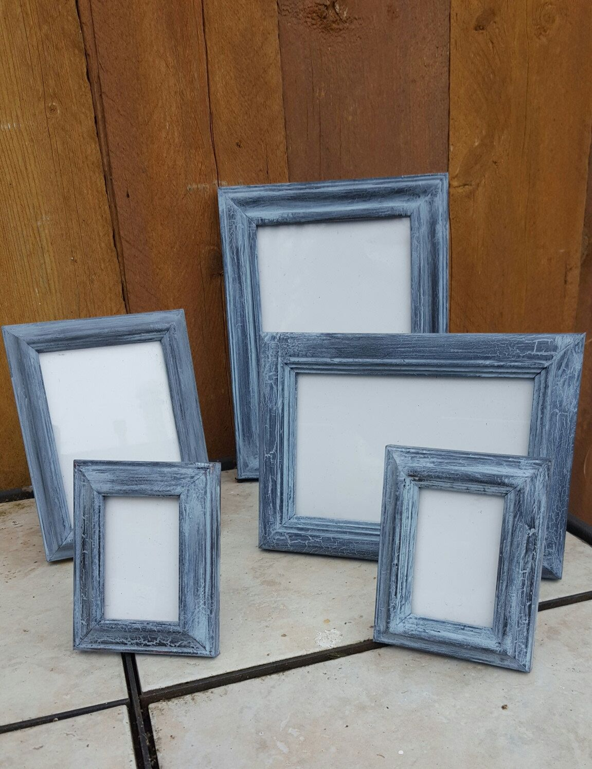Vintage Inspired Shabby Black/ Grey Boho distressed 5piece picture Frame Set by MyUsedYourNew on Etsy