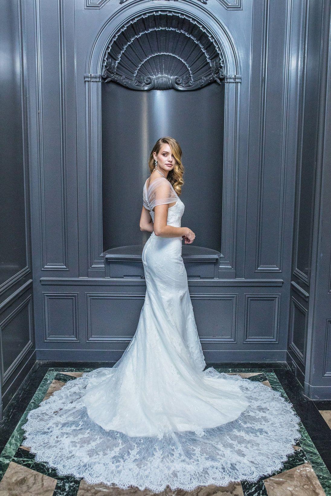 Lace wedding dress low back  JINZA BRIDAL  Elvet Collection
