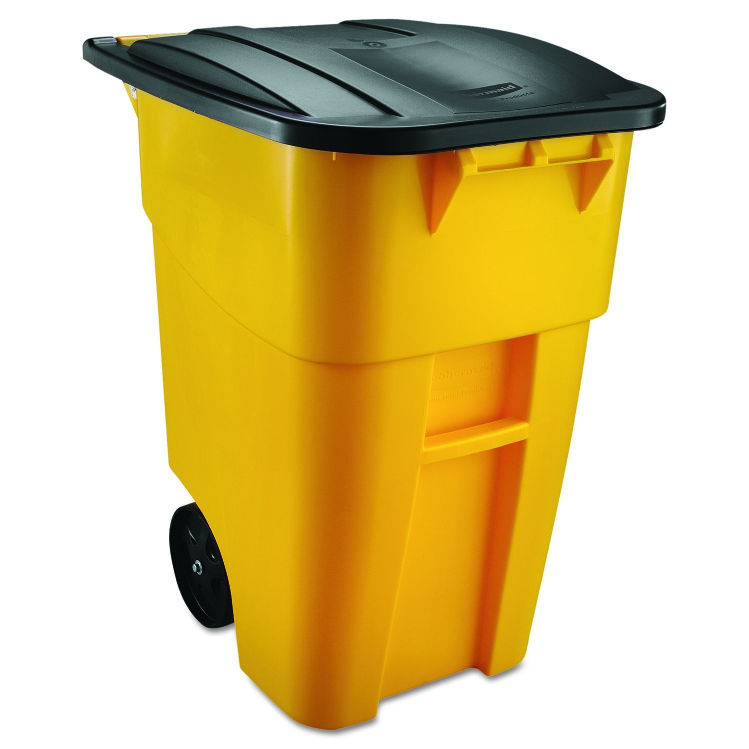 Garbage Bins Walmart Rubbermaid Commercial Yellow 50 Gal Brute Rollout Plastic