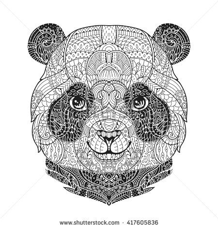 Animal Portrait In Zentangle Style For The Adult Anti Stress Coloring Book On White Background Hand Drawn Zendoodle Vector Illustration Ornamental Panda