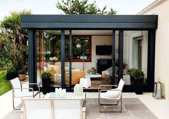 V randa toiture terrasse projet extension pinterest for Extension cuisine veranda