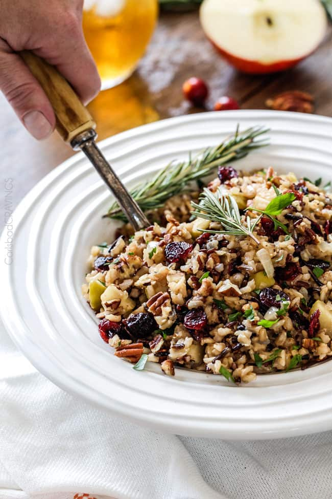 Wild Rice Pilaf with Cranberries, Apples and Pecans #easyricepilaf Wild Rice Pilaf simmered in herb seasoned chicken broth and apple juice and riddled with sweet dried cranberries, apples and roasted pecans for an unbelievable savory sweet side dish perfect for the holidays and easy enough for everyday!   This Wild Rice Pilaf is an easy and scrumptious make ahead side dish all made in one pot! WILD RICE PILAF Back in my 3rd month of blogging I had the giddy idea to simmer rice in apple jui #easyricepilaf