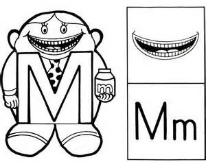 The letter people mr m with a munching mouth blasts for Letter people coloring pages