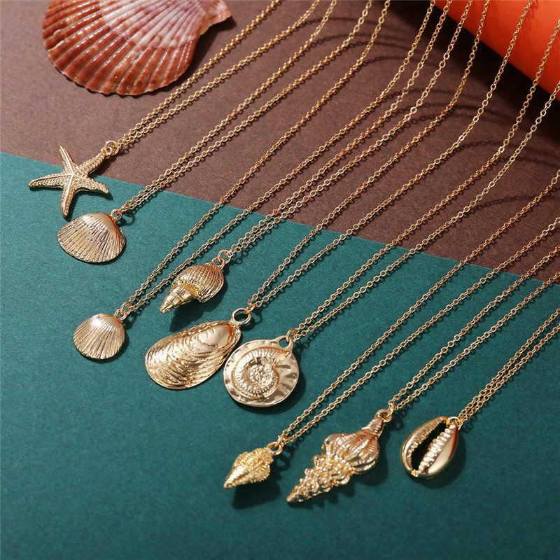 9 Design Fashion Shell Starfish Pendant Necklaces For Women Girls Gifts Vintage Gold Color Choker Bohemian Necklace Jewelry | Aalamey Shop -   20 women's jewelry Necklace stone pendants ideas