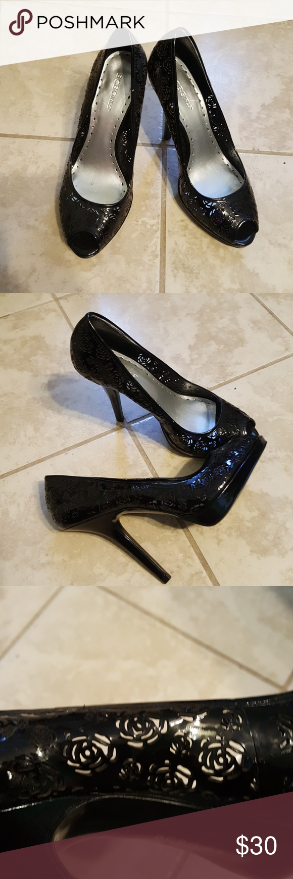 Beautiful black leather heels! New! Never worn. Has beautiful rose cutouts throughout! BCBGirls Shoes Heels