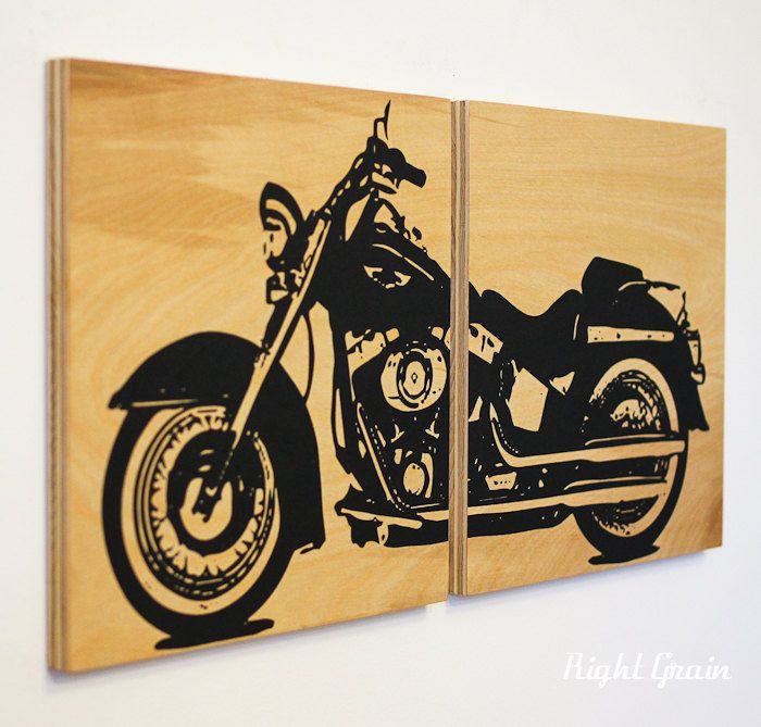 Motorcycle Wall Art - Harley Davidson on Woodgrain - Garage Art ...