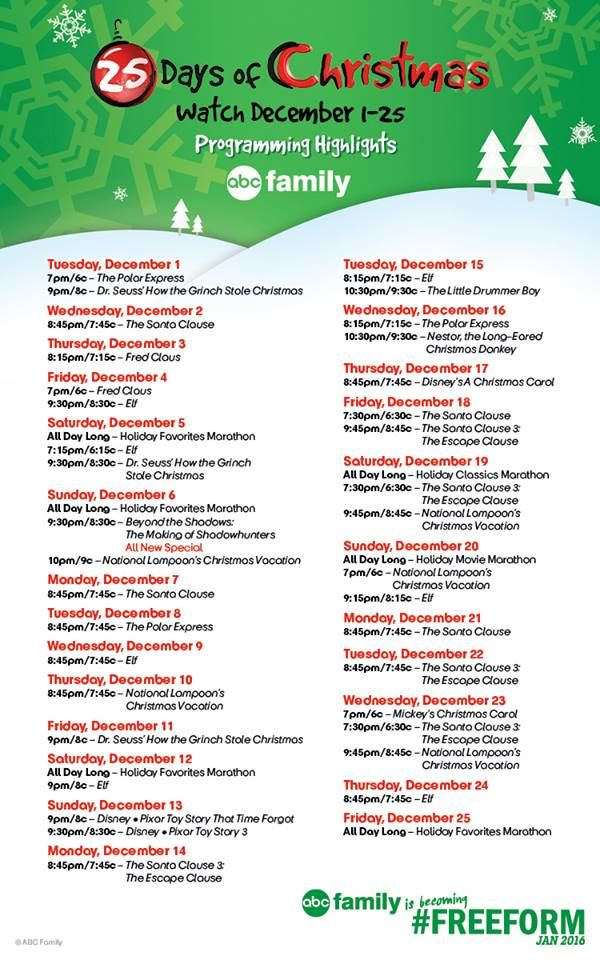abc family freeform 25 days of christmas tv schedule 2016