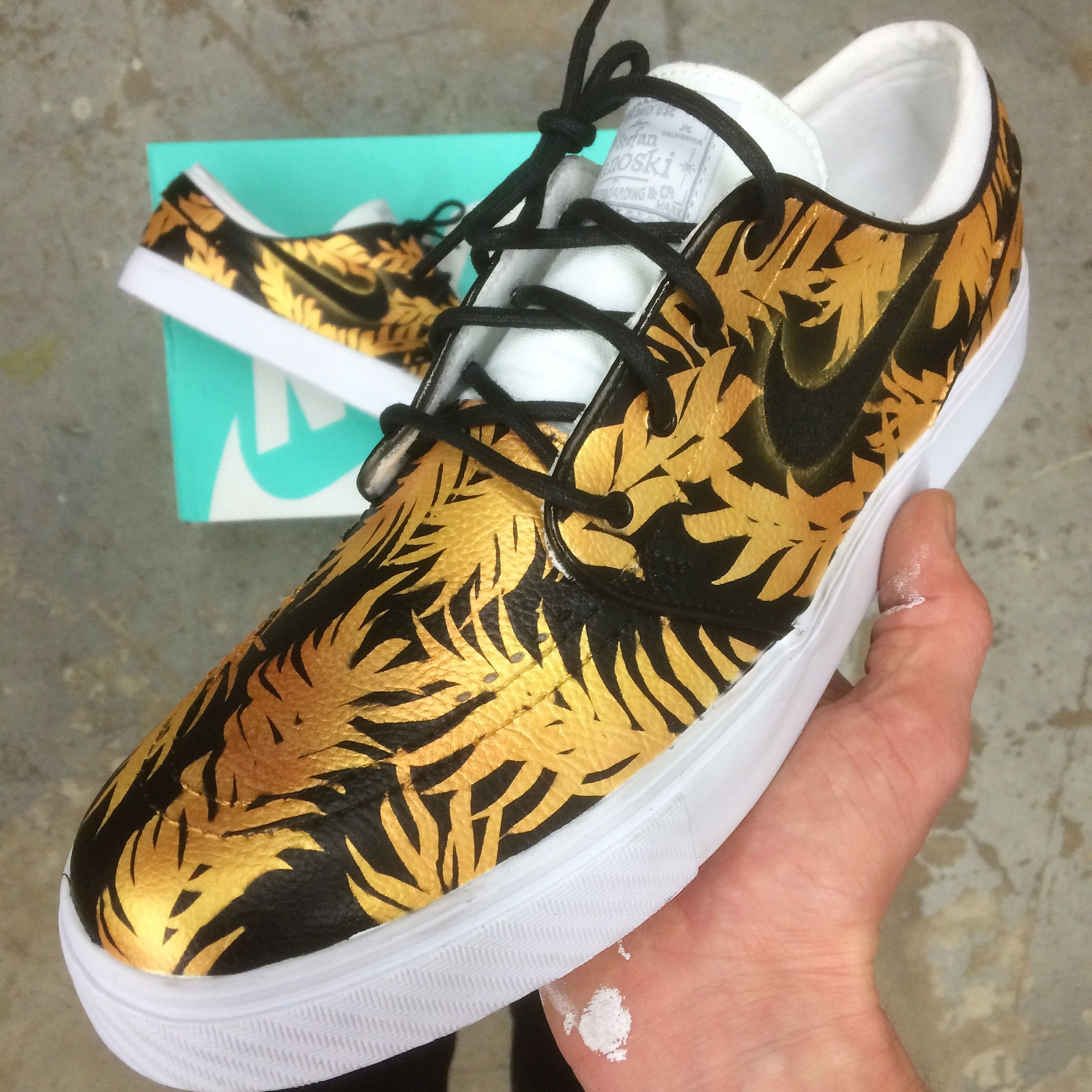 Custom Nike SB Stefan Janoski - Black   Gold Tropical Floral  4dd185028a68
