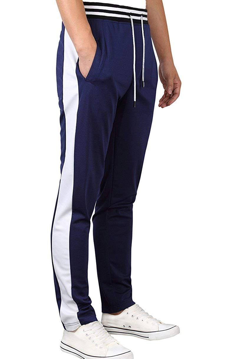 07c599f4992fbf Yong Horse Mens Track Pants Slim Fit Drawstring Stripe Open Bottom Athletic  Joggers Sweatpants at Amazon Men s Clothing store