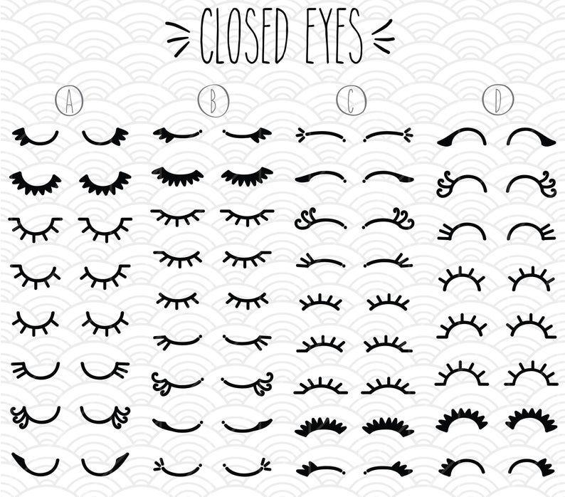 34 Geschlossenen Augen Clip Art Bundle Handgezeichnete Frau Etsy Cartoon Augen Hande Zeichnen Illustration Madchen