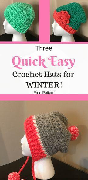 Three Quick Easy Crochet Hats for Winter | hats | Pinterest