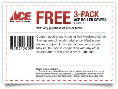 Saving 4 A Sunny Day Free Roller Covers At Ace With Purchase Printable Coupons Free Printable Coupons Coupons