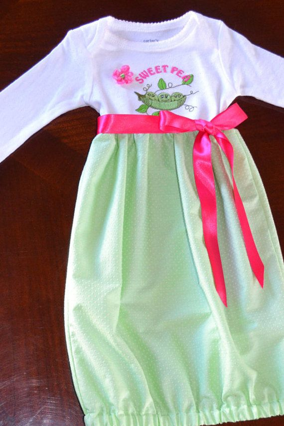 Baby Girl Layette Soft Green and Pink Just by LynnsSewingTreasures