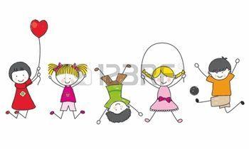 Bambini Stilizzati Felici I Bambini Che Giocano Alfabeti Numeri E