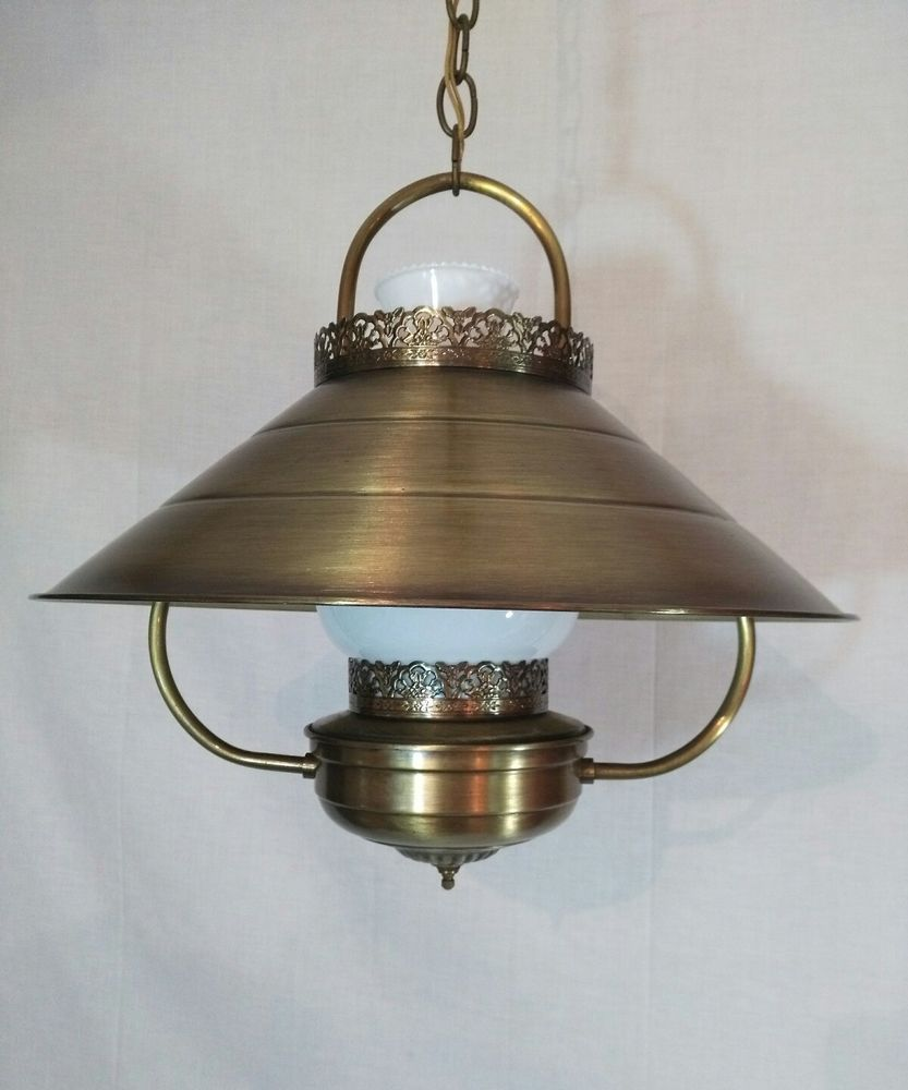 Vtg Mid Century Western Antique Brass Hanging Lamp Lavery Co 16 5 Diameter Hanging Lamp Glass Lamp Shade Lamp