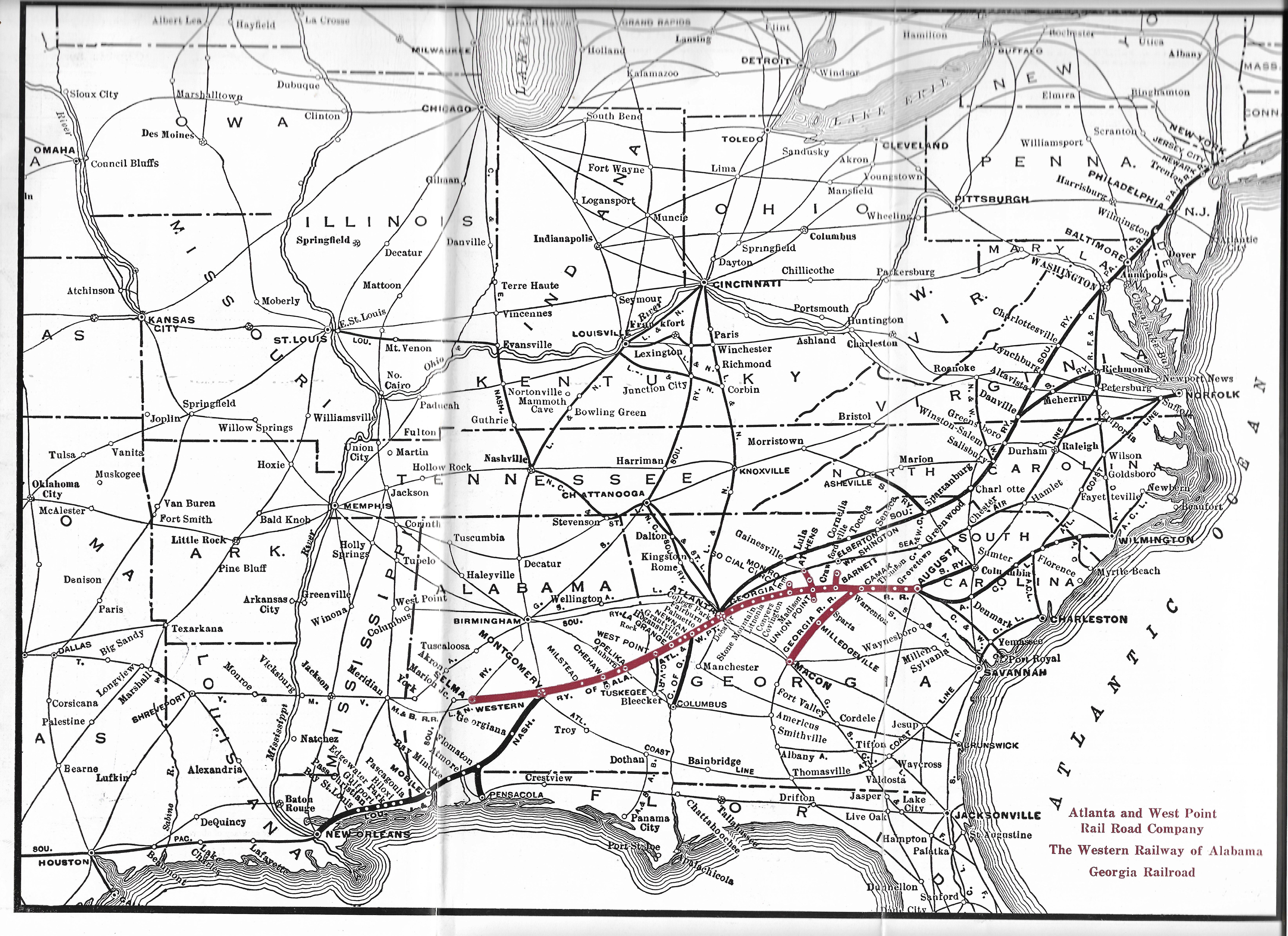 Railroad Map Of Georgia.1965 Map Of Atlanta And West Point Railroad Georgia Railroad And