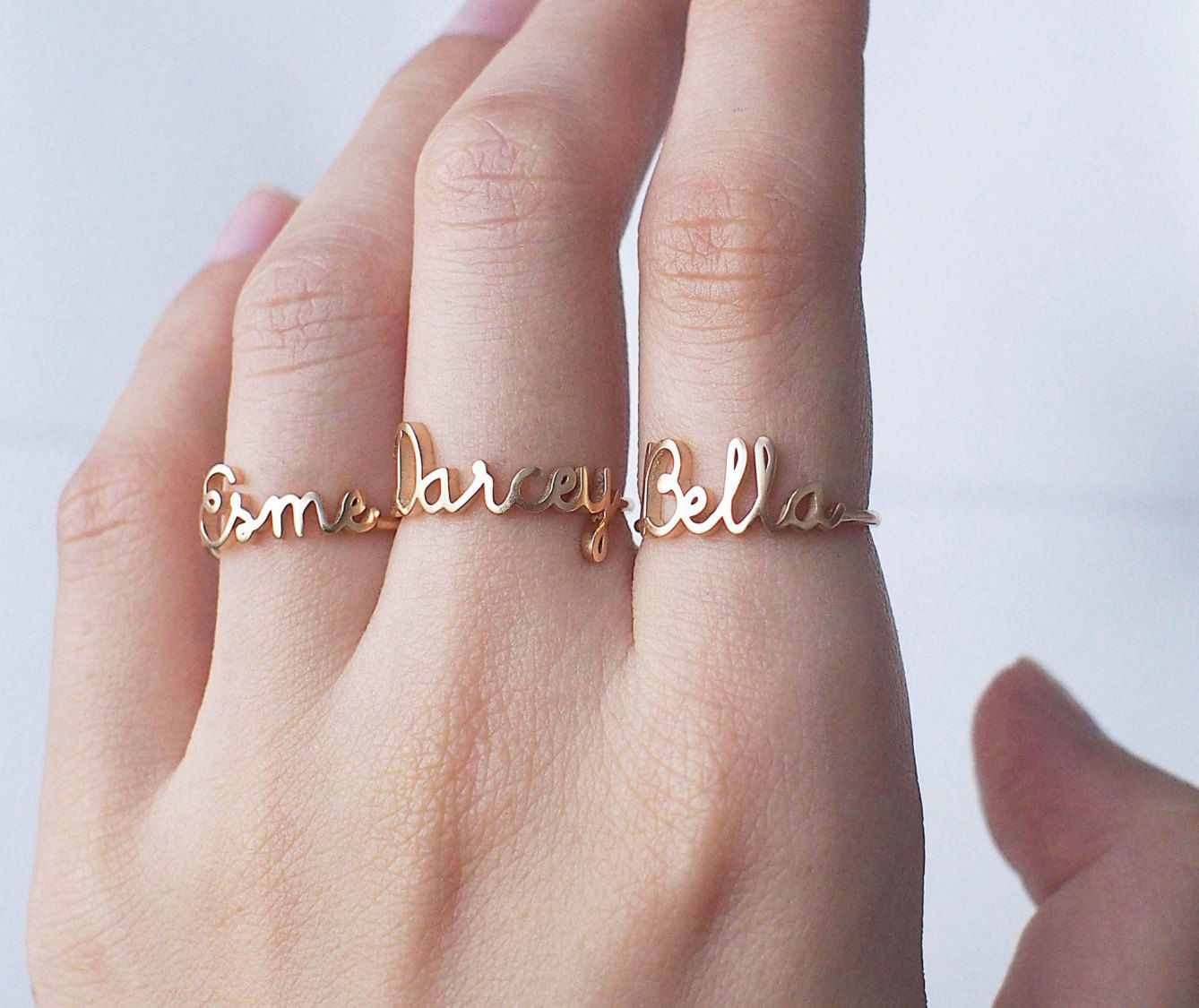 CIAO Ring OUI Ring with Twisted Band - Dainty Stackable Custom Word ...
