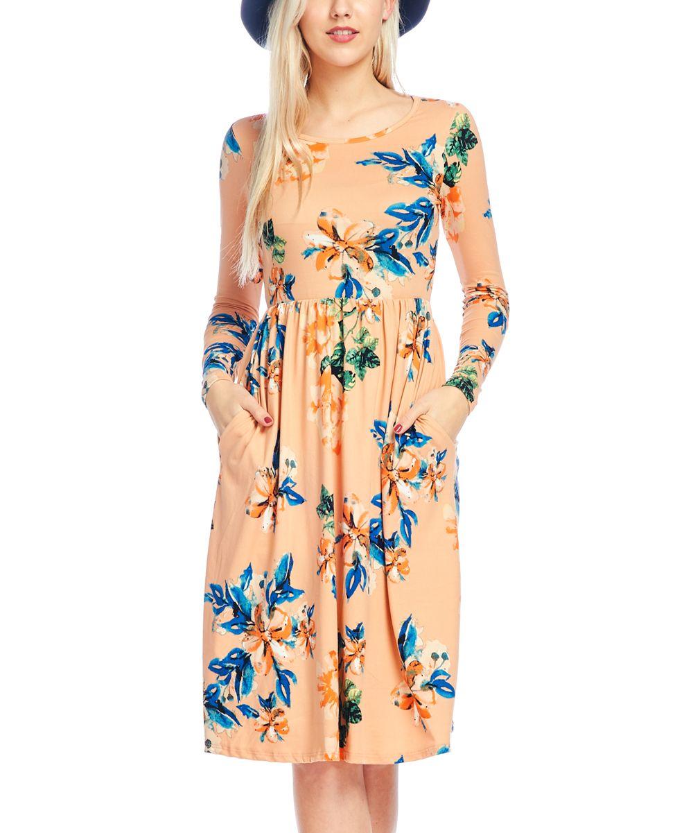 Blush Floral Pocket A-Line Dress