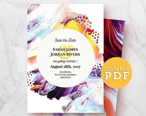 DIY Editable Save the date Wedding Announcement template Editable