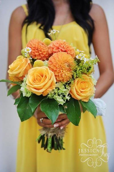 yellow orange green gray wedding
