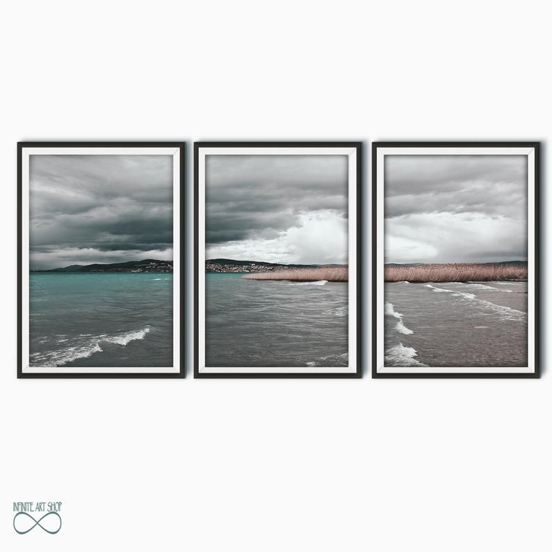 Coastal Photography Prints Set Of 3 Lake Wall Art Prints Waves Print Clouds Poster Reed Prints Print Photography Prints Art Lake Wall Art Modern Art Printables