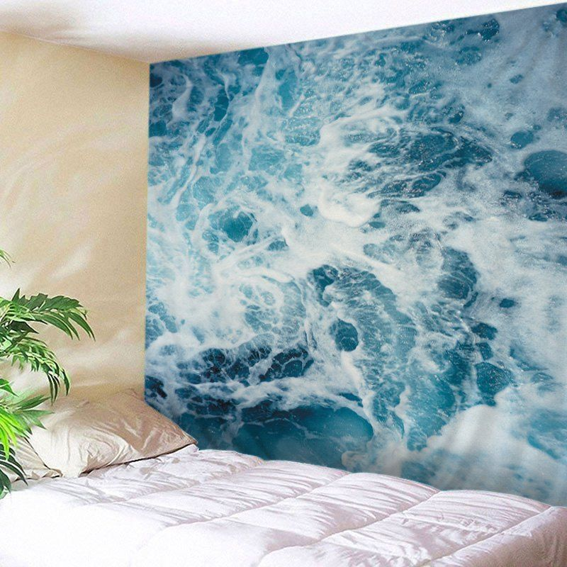 wall hanging art ocean waves print tapestry lake blue on walls coveralls website id=58819