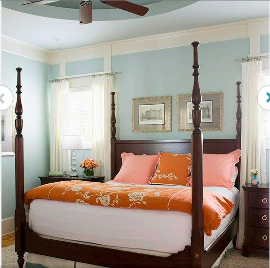 Decorating with Color Expert Tips Blue orange bedrooms, Orange - Orange Bedrooms