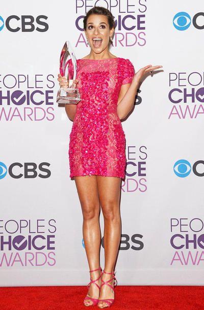 Lea Michele in Elie Saab. Pink mini dress. Critics Choice Award 09.01.2013