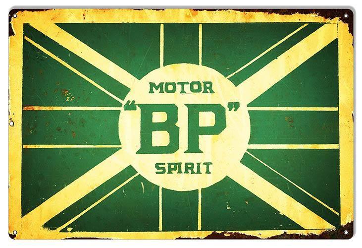 BP Motor Spirits Reproduction Gas Station Motor Oil Sign 12x18