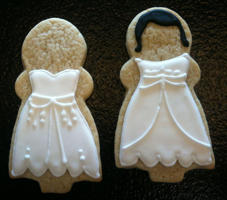 Wedding dress bridal sugar cookies w/ royal icing. Great wedding party gifts!