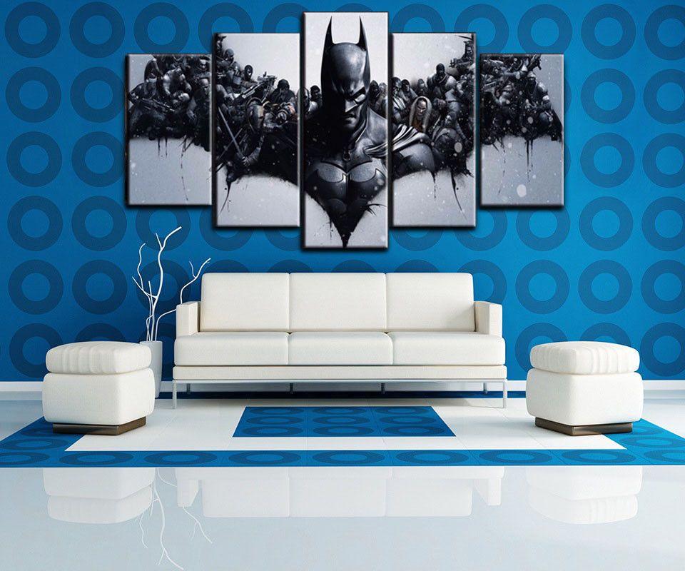 Large Framed 5 Panels Batman Painting Printed Movie Canvas Wall Art Home Decor Unbranded Artdeco Movie Wall Art Batman Painting Canvas Wall Art