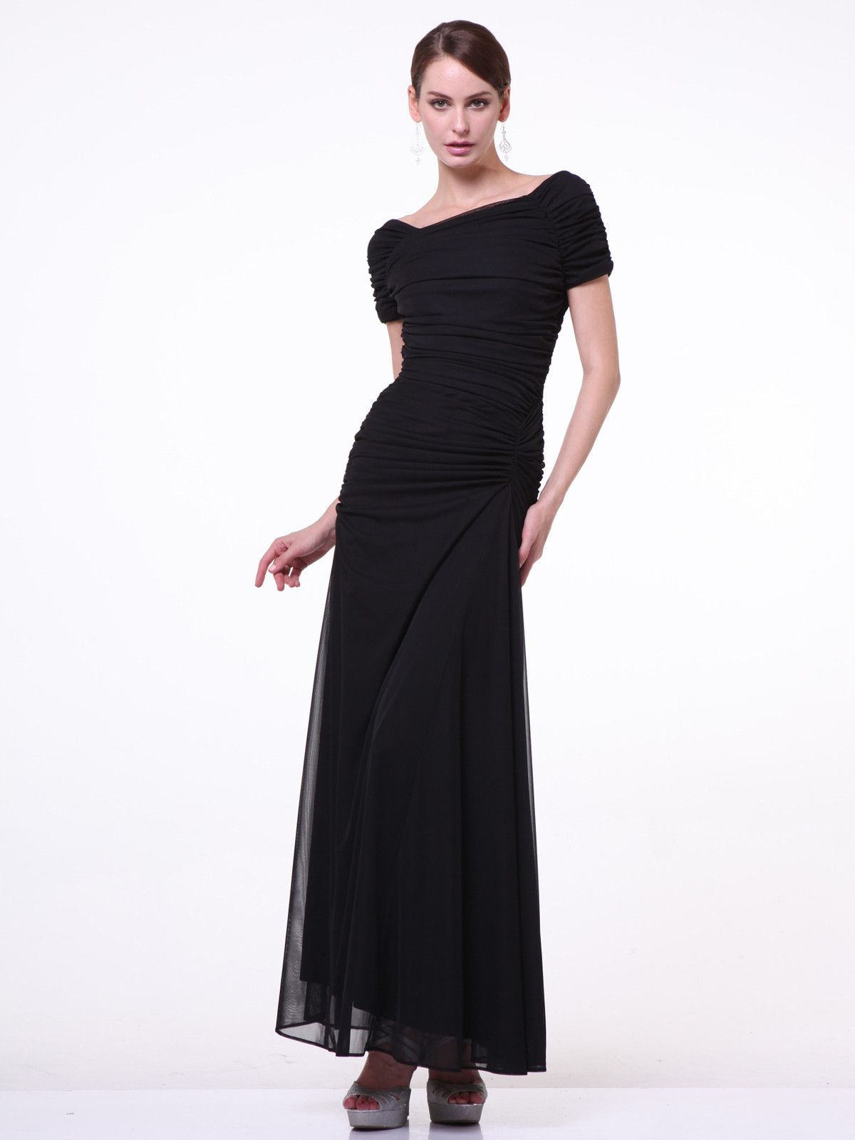 Long sleeve dresses to wear to a wedding  Formal Black Long Dress Mother of the Bride  Short sleeves