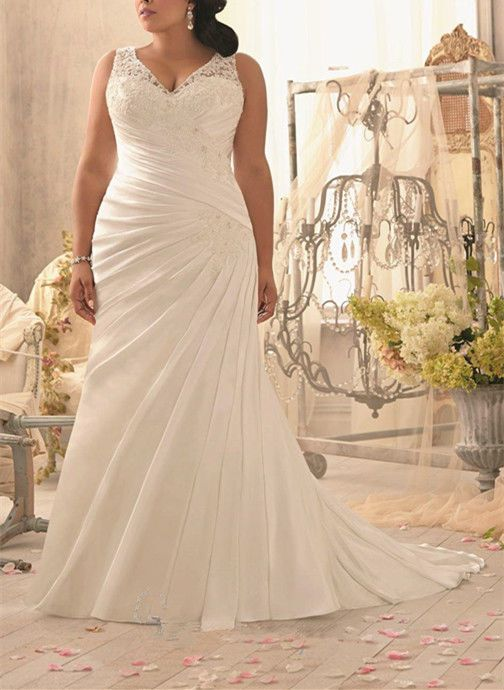 d111bf2161b9 White Ivory Bridal Gown Satin Wedding Dresses Custom Plus Size 18 20 22 24  26 28