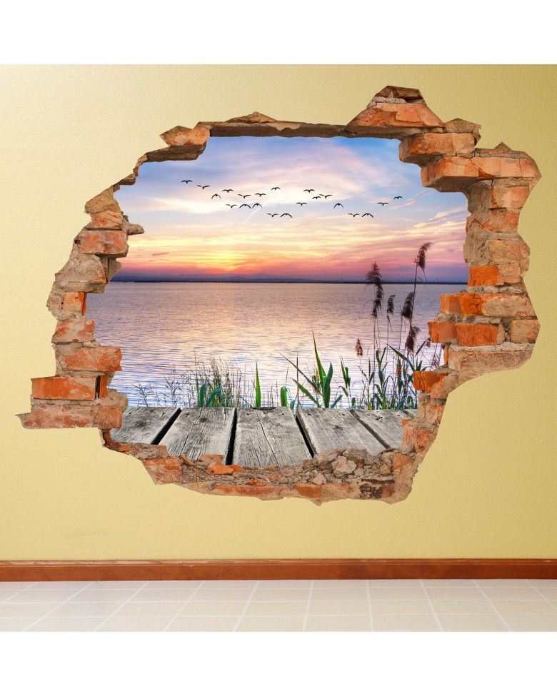 Vinilo pared rota 3d lago vinil decorativo pinterest for Murales de vinilo