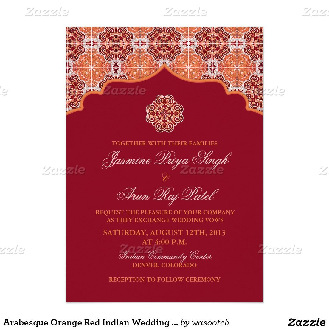 Arabesque Orange Red Indian Wedding Invitation | Katy + Brad ...