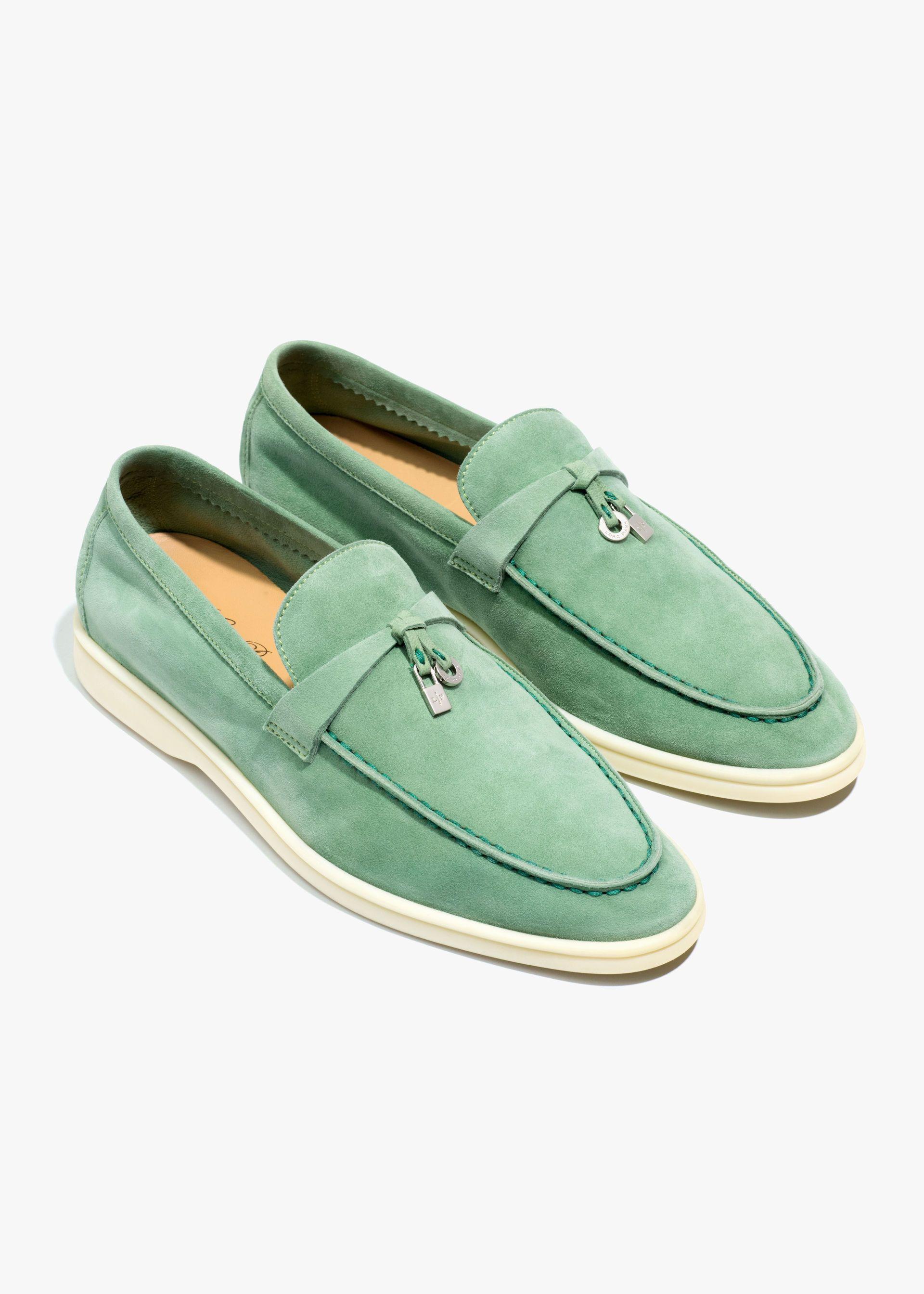 Summer Charms Walk Moccasin In Suede Calf Skin Azalea Blossom Loro Piana Dress Shoes Men Women Shoes White Sole Shoes [ 2688 x 1920 Pixel ]