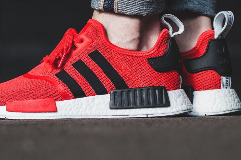 An On Feet Look At The Adidas Nmd R1 Core Red Black Adidas Nmd R1 Adidas Nmd Addidas Shoes