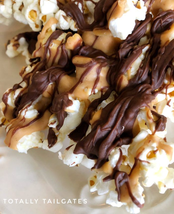 Popcorn Drizzled with Chocolate and Peanut Butter | Totally Tailgates