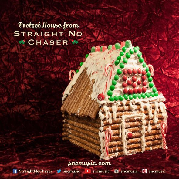 Straight No Chaser Pretzel House!  Repin on http://www.sncmusic.com/adventcalendar for your chance to win Straight No Chaser merchandise throughout the holiday season! Have you bought gifts for everyone on your list yet? Get the #SNClive Tour Tee for someone you love today: http://atlr.ec/1bZf3SO