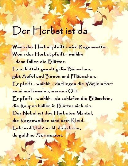 Herbst Reim Gedicht Kindergarten Erzieherin Kits Mit Bildern