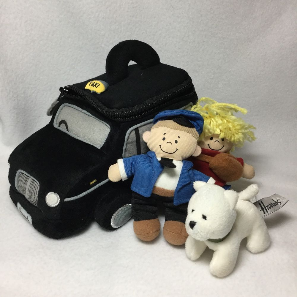 Charming Harrods Taxi With People Figures Plush Soft Toy Dog Man Woman 9