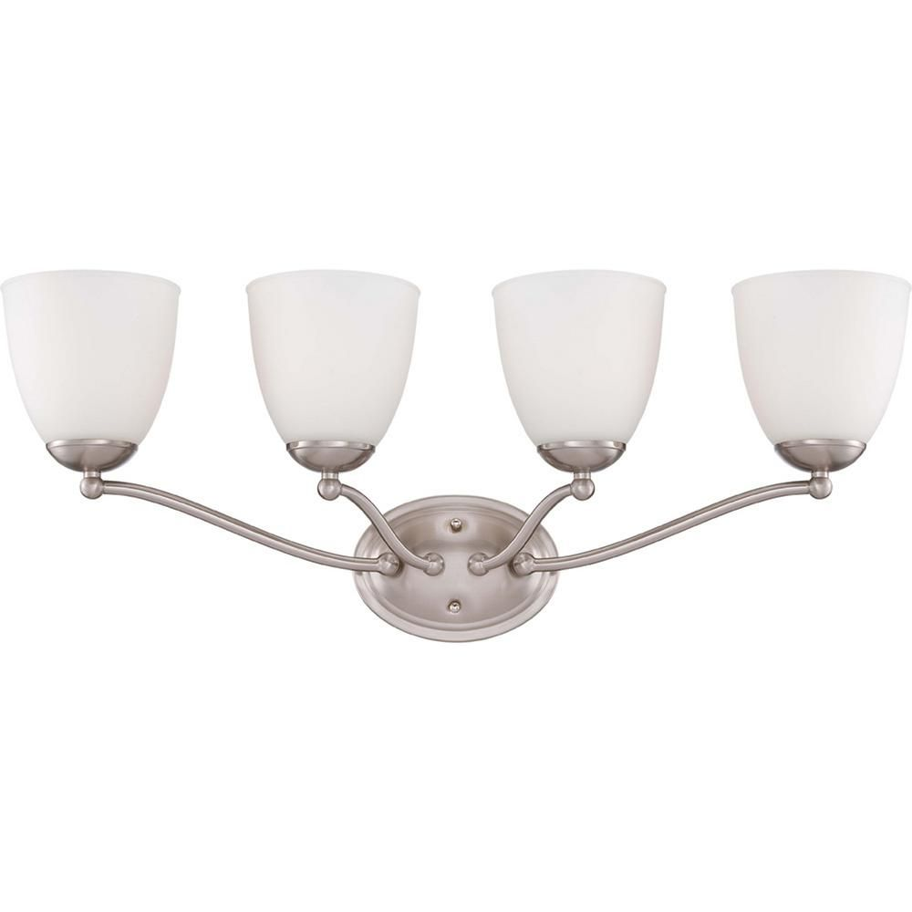 Photo of Illumine 4-Light Brushed Nickel Vanity Fixture with Frosted Glass Shade HD-5034 – The Home Depot