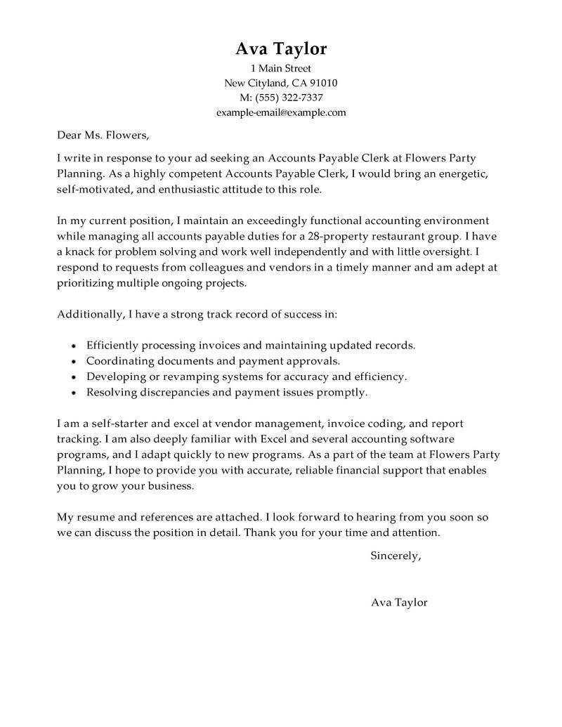 Accounting Resume Cover Letter Best Accounts Payable Specialist Cover Letter Examples Livecareer .
