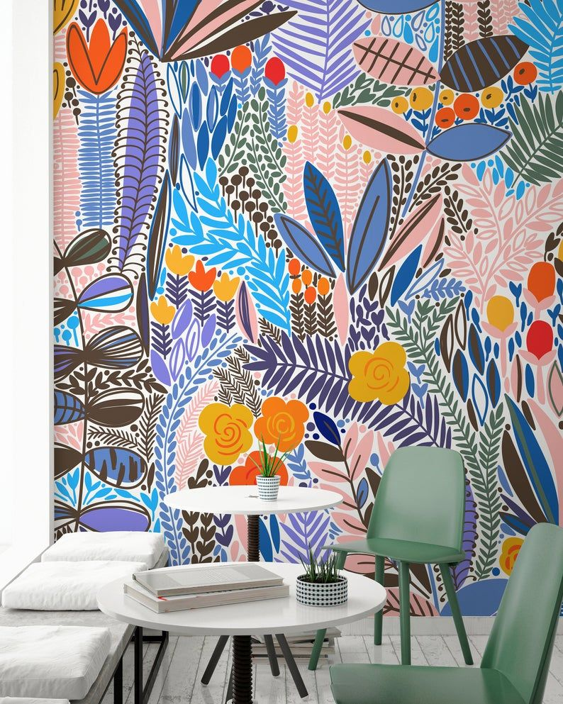 Cute Floral Wallpaper Floral Wallpaper Nursery Wallpaper Etsy Floral Pattern Wallpaper Floral Wallpaper Nursery Nursery Wallpaper