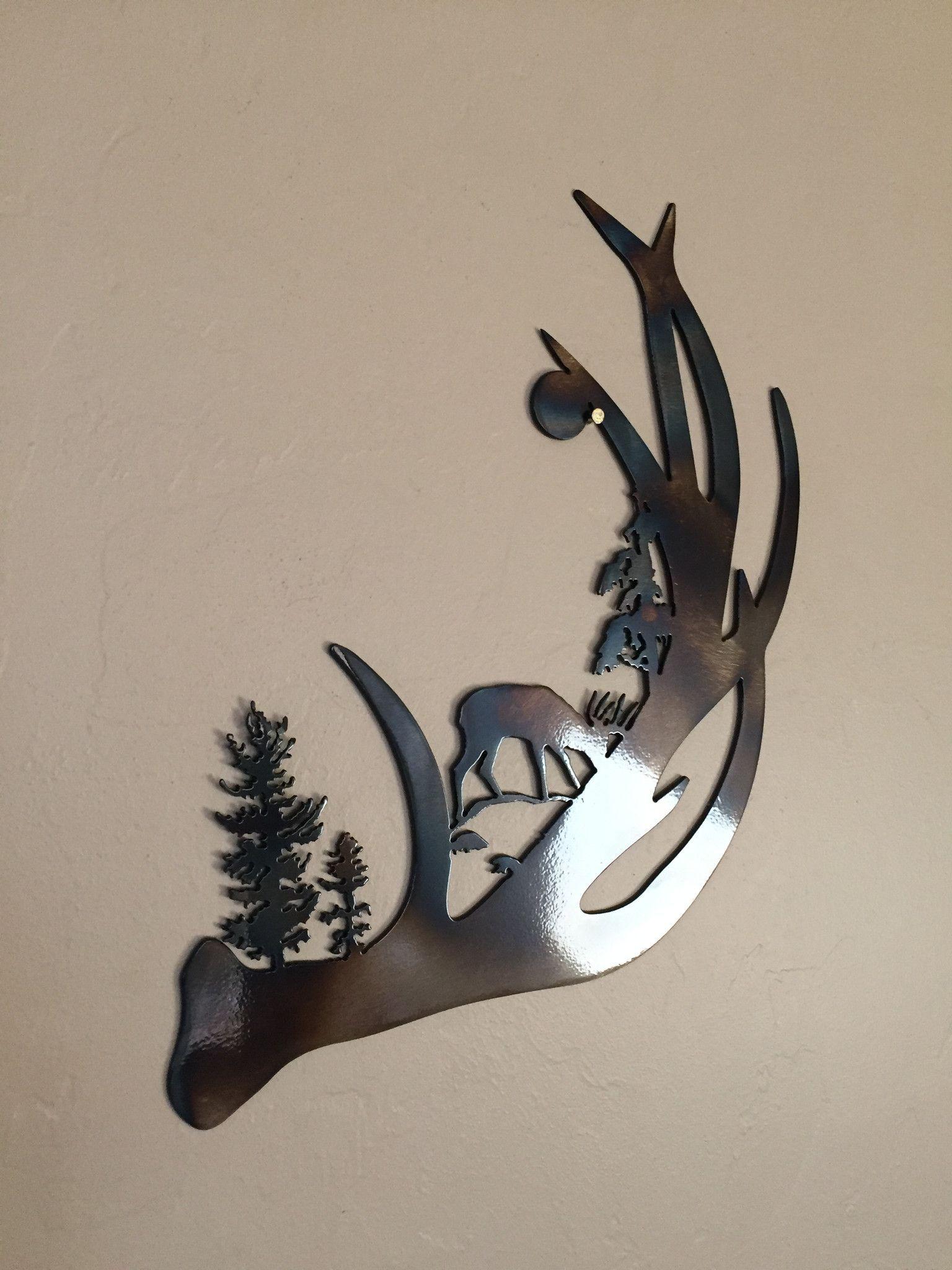 Deer Antler Scene Abstract Metal Wall Art Decor Cnc