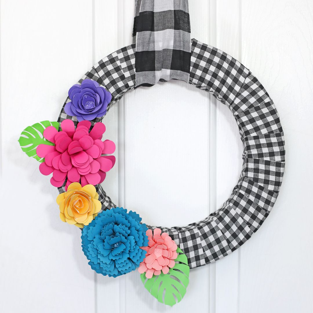 Buffalo Check Paper Flower Wreath The Craft Patch Paper Flower Wreaths Diy Spring Wreath Rolled Paper Flowers