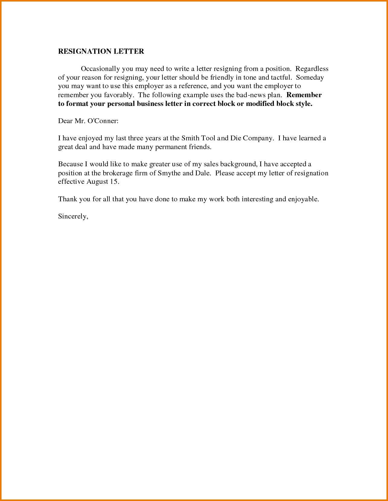 Reasons Write Business Letter The Sample Resignation For Personal