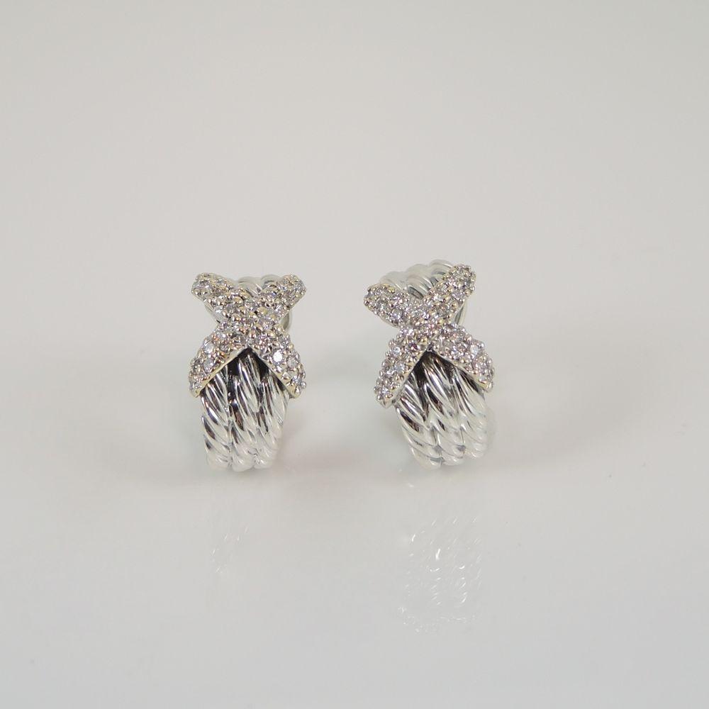 David Yurman Sterling Silver 18k Gold 60tcw Pave Diamond X Semi Hoop Earrings Davidyurman